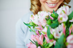 Enjoying fragrance Royalty Free Stock Photo