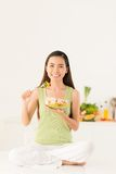 Enjoying fresh healthy salad Royalty Free Stock Image