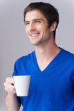 Enjoying fresh and hot coffee. Royalty Free Stock Image