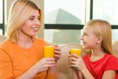 Enjoying fresh juice. Stock Images