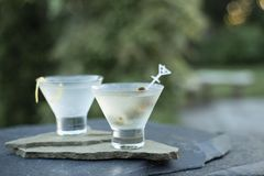Enjoying freshly shaken dirty gin and vodka martinis on a warm summer evening with friends and family during a backyard party. Photographed on cool blue slate stock photos