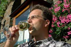 Enjoying german wine. Male model is drinking german white Mosel wine royalty free stock photo