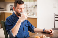Enjoying a glass of milk at home Royalty Free Stock Photo