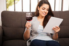 Enjoying a glass of wine at home Stock Photo