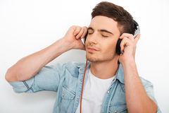 Enjoying good music. Royalty Free Stock Photos