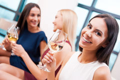Enjoying good time with friends. royalty free stock photos