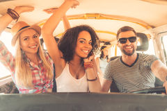 Enjoying great roadtrip with friends. Royalty Free Stock Photo
