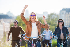 Enjoying great time with friends. Stock Images