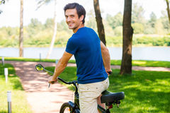 Enjoying great time in park. Royalty Free Stock Photo