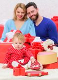 Enjoying happy moments. Valentines day. Red boxes. Shopping online. Love and trust in family. Bearded man and woman with. Enjoying happy moments. Valentines day stock photo