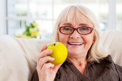 Enjoying healthy eating. Stock Photos