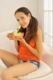 Enjoying Healthy Fruit Royalty Free Stock Images