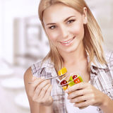 Enjoying healthy nutrition royalty free stock photos