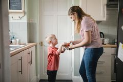 Enjoying a Healthy Snack. Little boy and his mother standing in the kicthen in the house. The little boys mother is holding a bowl of strawberries while the stock image