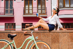 Enjoying her free time in town. Stock Images