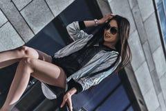 Enjoying her style. royalty free stock photos
