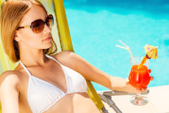 Enjoying her summer vacation. Stock Images