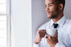 Enjoying his coffee break. Royalty Free Stock Photography