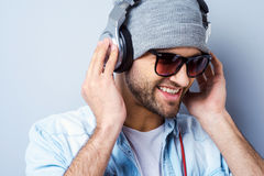 Enjoying his favorite music. Royalty Free Stock Images