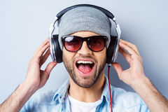 Enjoying his favorite song. Royalty Free Stock Images