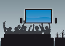 Enjoying the Homecinema. Group of people watching an event enjoying their home cinema - paste your own image Stock Images