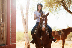 Enjoying a horse ride Stock Photos