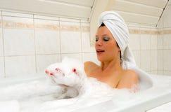 Enjoying a hot bath Stock Image