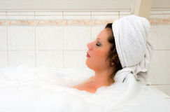 Enjoying a hot bath Royalty Free Stock Photography