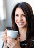 Enjoying a hot drink Royalty Free Stock Photo