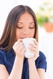 Enjoying hot drink. Stock Images
