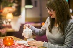 Enjoying a hot drink Royalty Free Stock Image