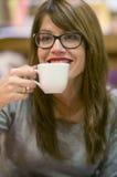 Enjoying a hot drink Stock Photography