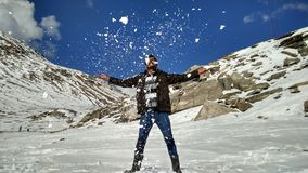 Rohtang pass heavy snow fall Enjoying ice special effects  playing holidays fun masti mountains snowfalls free hands Stock Photos