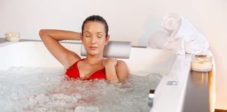 Enjoying jacuzzi Stock Photography