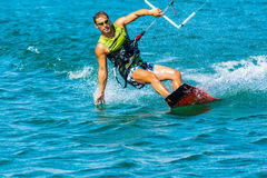 Enjoying kiting in the sea Royalty Free Stock Photography