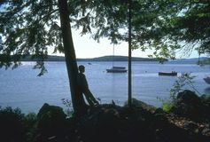 Enjoying the Lake. Silhouette of pensive boy at lake royalty free stock image