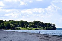 Exercising on Sodus Point Beach in New York Royalty Free Stock Images