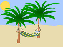 Enjoying life. Young person relaxing in a hammock (vector vector illustration