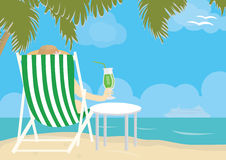 Enjoying life with cocktail on a beach Royalty Free Stock Images