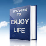 Enjoying life concept. Illustration depicting a book with an enjoying life concept title. Sky background Royalty Free Stock Photos