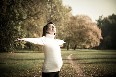 Enjoying life - expecting child in pregnancy Stock Photography