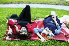 Enjoying life on the picnic with wine Royalty Free Stock Photos