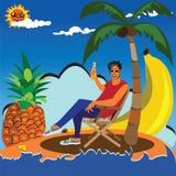 Enjoying in lonely island stock illustration