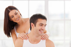 Enjoying massage. Stock Photo