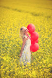 Enjoying in meadow field Royalty Free Stock Image