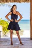 Enjoying modelo moreno latino-americano Sunny Day Fotos de Stock Royalty Free