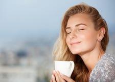Enjoying morning coffee Stock Photos