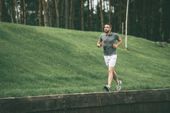 Enjoying morning jog. Full length of confident man in sports clothing wearing headphones and running in park Stock Image