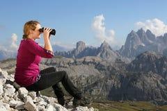 Enjoying the mountain landscape while hiking Royalty Free Stock Photos