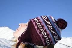 enjoying mountain woman Στοκ εικόνες με δικαίωμα ελεύθερης χρήσης